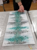 Abstract - Teal and Silver with shattered glass
