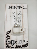 Coffee (Life Happens Coffee helps verticle) made with shattered glass