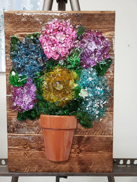 Xcelent Guest Creation -flower pot and stained wood