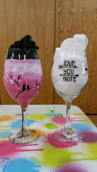 Wine Glass - Birds Amore & Love you More