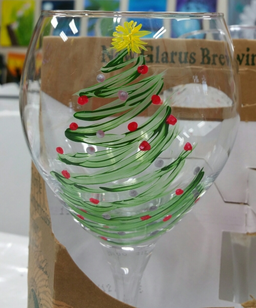 Wine Glass - Christmas Tree