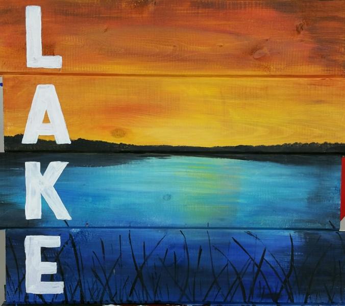 Wood LAKE  painted (14x16)