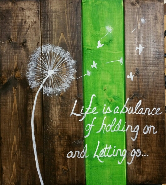 Wood Life is a balance of holding on and letting go (14x16)