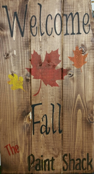 Wood Welcome Fall with name (10x19)