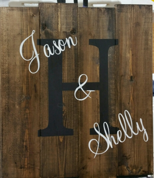 Name board - Block -H Mahog- Jason & Shelly (14x16)