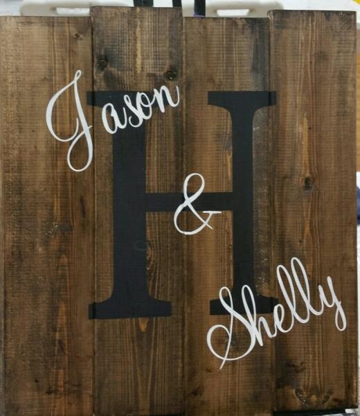 Name board - Block -H Mahog- Jason & Shelly (14x16)