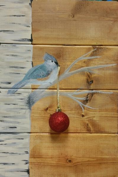 Wood Birch bird holding an ornament (9.5 x13.5)