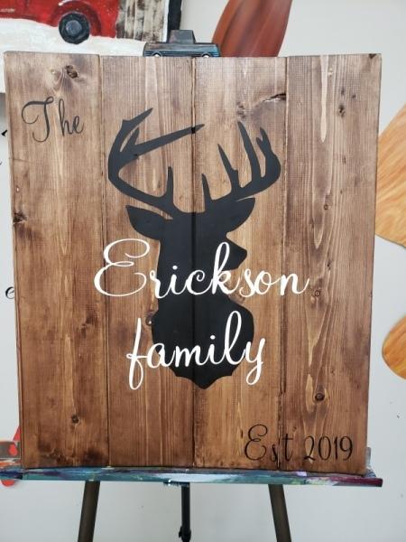 Wood Name  board  Deer