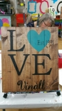 Wood LOVE with Personalized name and est (14x16)