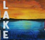Wood LAKE  painted (14x16)