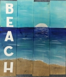 Wood BEACH painted board (14x16)