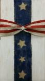 Wood Burlap Cross - flag (10x19)