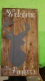 Wood Welcome Deer with Name (10x19)