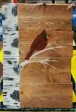 Wood Birch and cardinal (9.5 x 13.5)